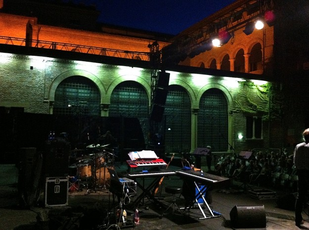 Stage before the gig in Cagliari